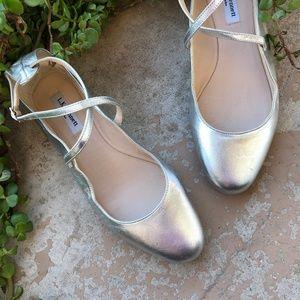 LK Bennett Nessie Silver Leather Ballet Flats